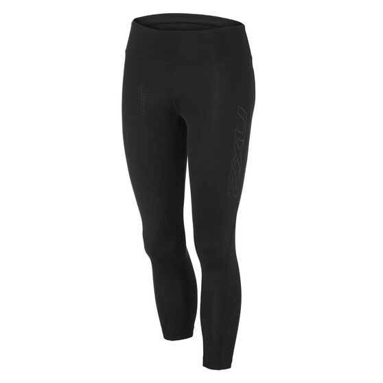 2XU Womens Mid Rise Compression 7/8 Tights Black XS, Black, rebel_hi-res