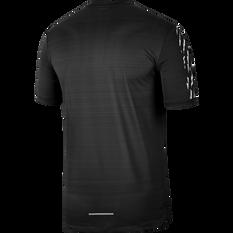 Nike Mens Dri-FIT Miler Short Sleeve Running Top Black / White XS, Black / White, rebel_hi-res
