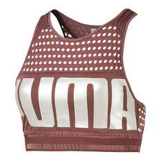Puma Womens Mid Impact Sports Bra Brown XS, Brown, rebel_hi-res