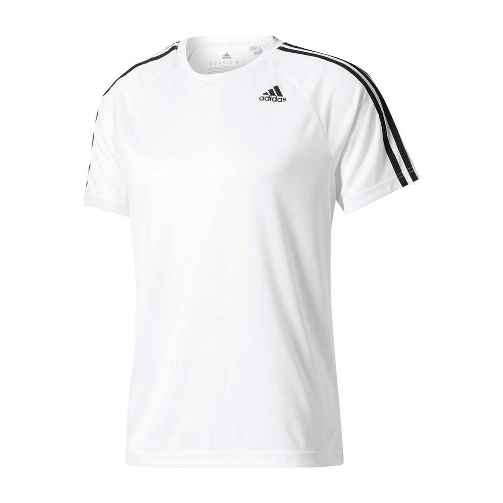 bdf2a675c3dfac adidas Mens D2M 3 Stripes Tee White S