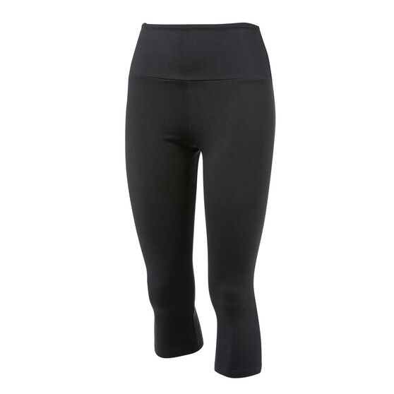 Running Bare Womens Ab Waisted Wot 3/4 Tights, Black, rebel_hi-res