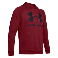 Under Armour Mens Rival Logo Fleece Hoodie Red XS, Red, rebel_hi-res