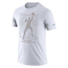Nike Milwaukee Bucks Giannis Antetokounmpo 2020 Mens Dri-FIT Tee White M, White, rebel_hi-res