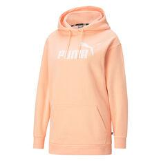 Puma Womens Essentials Logo Elongated Hoodie Orange XS, Orange, rebel_hi-res