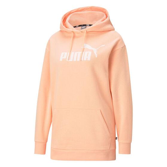 Puma Womens Essentials Logo Elongated Hoodie, Orange, rebel_hi-res