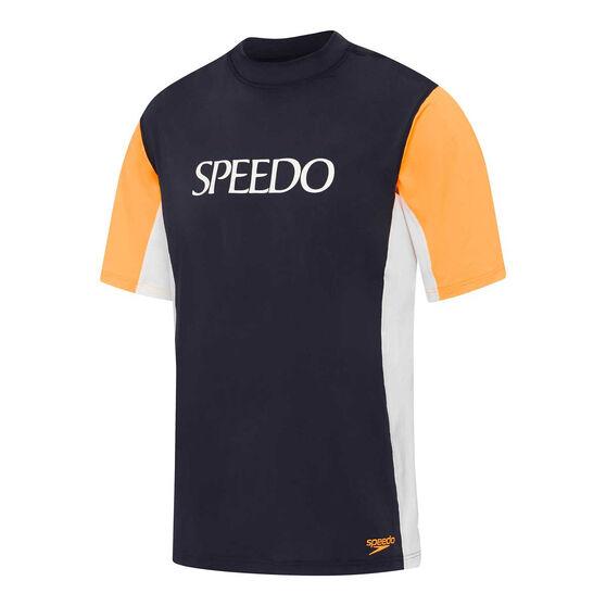 Speedo Mens Motion Relaxed Rash Vest, Navy/White, rebel_hi-res
