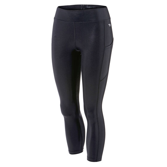 Running Bare Womens Ab Waisted Flex Zone 7/8 Tights, Black, rebel_hi-res