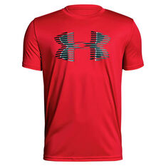 Under Armour Boys Tech Big Logo Solid Tee Red / Grey XS, , rebel_hi-res