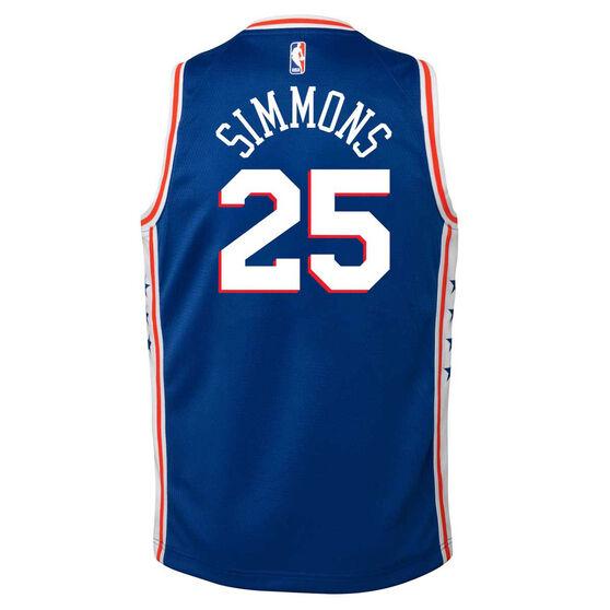 Nike Philadelphia 76ers Ben Simmons 2020/21 Kids Swingman Jersey, Blue, rebel_hi-res