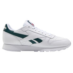 Reebok Classic Leather Casual Shoes White/Green US 7, White/Green, rebel_hi-res