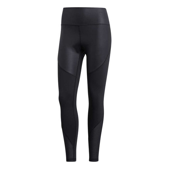 adidas Womens Believe This High-Rise Shiny Mesh 7/8 Tights, Black, rebel_hi-res