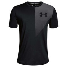 Under Armour Boys Raid Tee Black / Grey XS, Black / Grey, rebel_hi-res