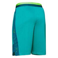 Under Armour Boys Stunt 2.0 Shorts Blue / Green XS, Blue / Green, rebel_hi-res