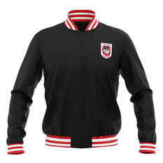St George Illawarra Dragons 2019 Mens Club Varsity Jacket Black S, Black, rebel_hi-res