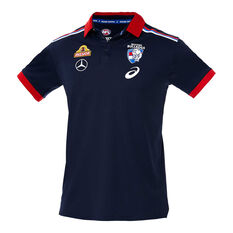 Western Bulldogs 2020 Mens Media Polo Navy S, Navy, rebel_hi-res