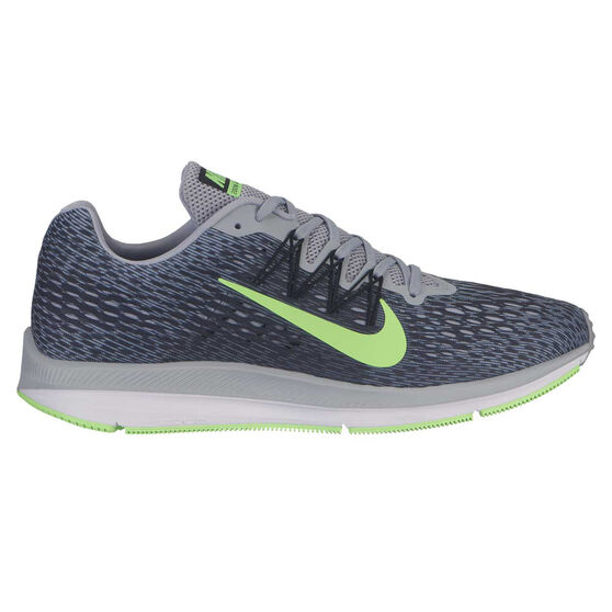 Nike Zoom Winflo 5 Mens Running Shoes, Grey / Lime, rebel_hi-res