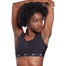 Reebok Womens Shiny Strappy Low-Impact Sports Bra, Black, rebel_hi-res