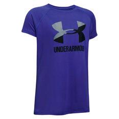 Under Armour Girls Big Logo Tee Purple / Grey X S, Purple / Grey, rebel_hi-res
