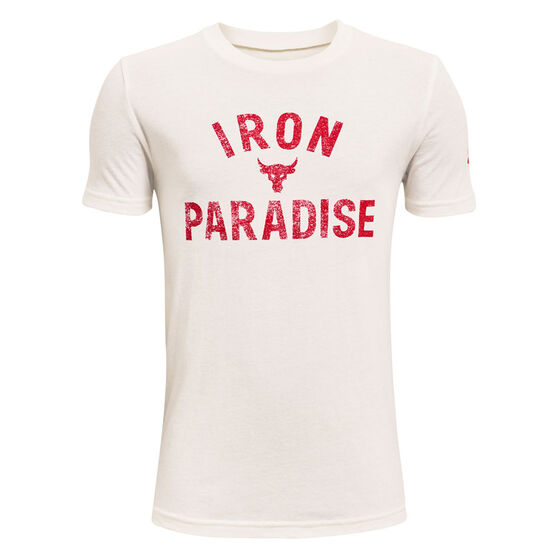 Under Armour Project Rock Iron Paradise Tee, White, rebel_hi-res