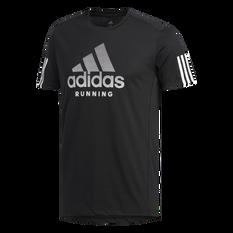 adidas Mens Run It Badge of Sport Soft Tee Black S, Black, rebel_hi-res