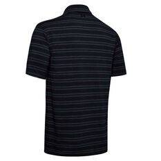 Under Armour Mens Charged Cotton Scramble Stripe Golf Polo, Black, rebel_hi-res