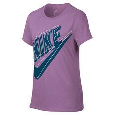 Nike Girls Futura Glow Tee Purple / Green X S, Purple / Green, rebel_hi-res
