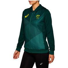Asics Womens Australian Olympic Village Hoodie, Green, rebel_hi-res