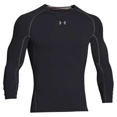 Under Armour Mens HeatGear Armour Long Sleeve Compression Top Black S Adult, Black, rebel_hi-res