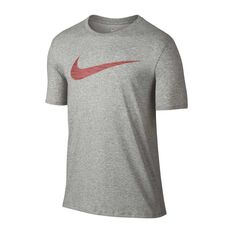 Nike Mens Sportswear Swoosh Tee, Grey / Red, rebel_hi-res