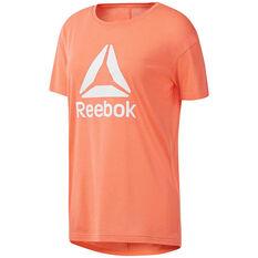 Reebok Womens Workout Ready 2.0 Big Logo Tee Pink XS, Pink, rebel_hi-res