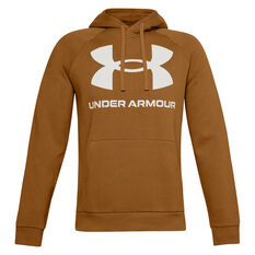 Under Armour Mens Rival Logo Fleece Hoodie Yellow XS, Yellow, rebel_hi-res