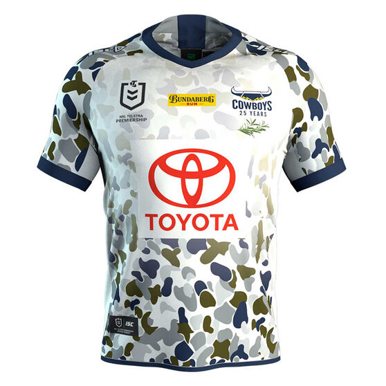 North Queensland Cowboys 2020 Mens Defence Jersey, White, rebel_hi-res