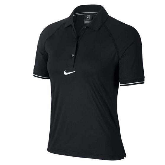 Nike Womens Court Tennis Polo Black XS, Black, rebel_hi-res