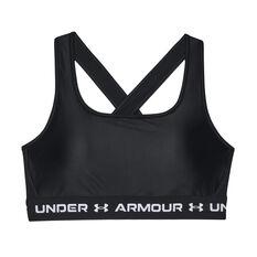 Under Armour Womens Mid Crossback Matte Shine Sports Bra Black XS, Black, rebel_hi-res
