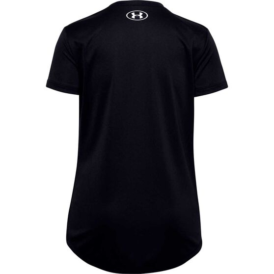 Under Armour Girls Big Logo Tech Short Sleeve Tee, Black / White, rebel_hi-res