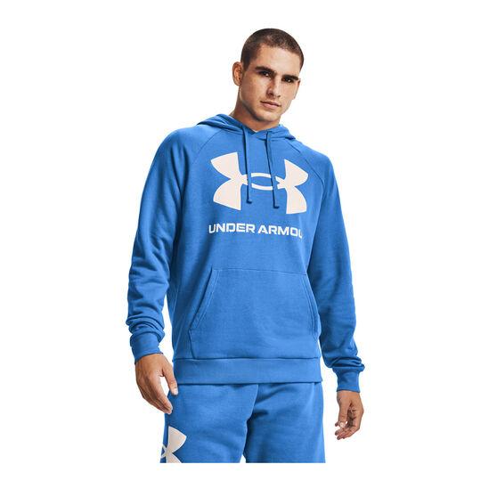 Under Armour Mens Rival Fleece Logo Hoodie, Blue, rebel_hi-res