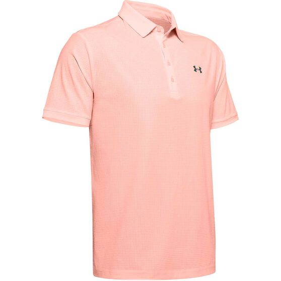 Under Armour Mens Vented Playoff Polo, Pink, rebel_hi-res