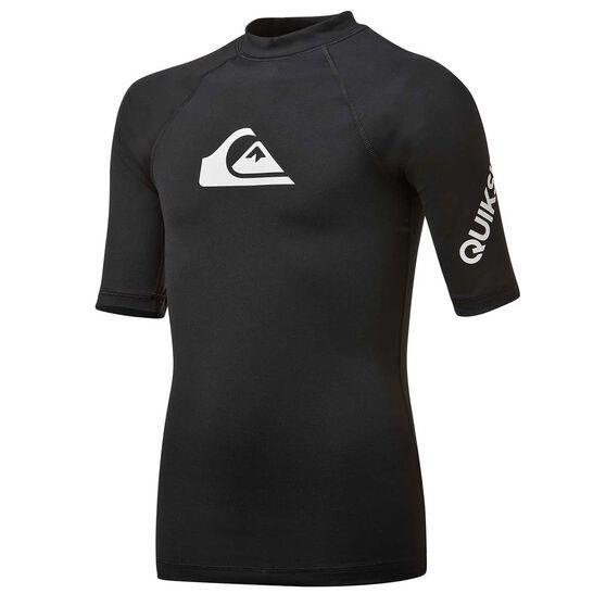 Quiksilver Boys All Time Short Sleeve Rash Vest, Black, rebel_hi-res