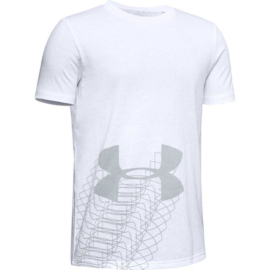 Under Armour Boys Linear Logo Tee, White / Grey, rebel_hi-res