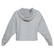 Under Armour Womens Project Rock Taped Fleece Hoodie Grey XS, Grey, rebel_hi-res