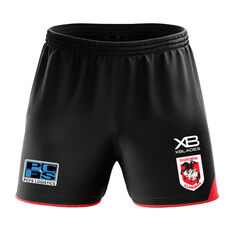 St George Illawarra Dragons 2020 Mens Training Shorts Black S, Black, rebel_hi-res