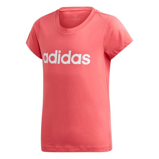 adidas Girls Essential Linear Tee, Pink / White, rebel_hi-res