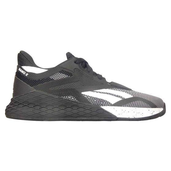 Reebok Nano X Womens Training Shoes, Black/White, rebel_hi-res