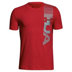 Under Armour Boys One Sided Tee Red / Grey XS, Red / Grey, rebel_hi-res