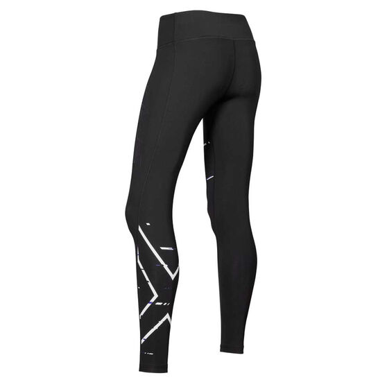 2XU Womens Mid Rise Compression Tights, Black, rebel_hi-res
