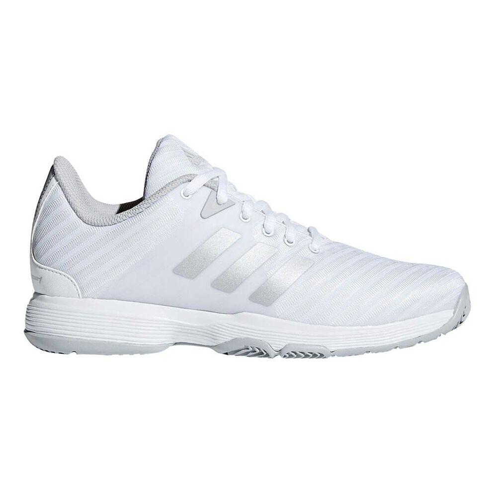 f866731e9 adidas Barricade Court Womens Tennis Shoes White / Silver US 9.5, White /  Silver,