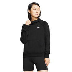 Nike Womens Sportswear Essentials Funnel Neck Fleece Hoodie, Black, rebel_hi-res