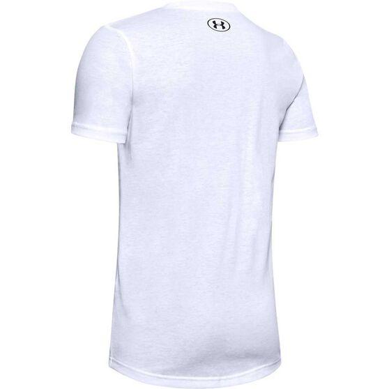 Under Armour Boys Sportstyle Logo Tee, White / Black, rebel_hi-res