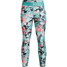 Under Armour Girls HeatGear Printed Tights Turquoise XL, Turquoise, rebel_hi-res