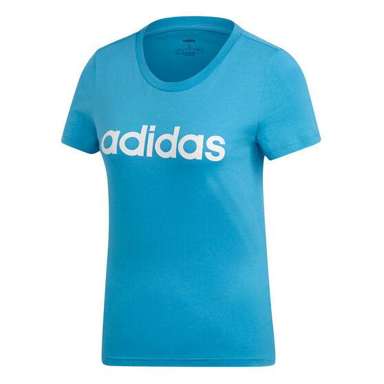 adidas Womens Essentials Linear Slim Tee, Blue / White, rebel_hi-res